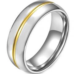 COI Titanium Gold Tone Silver Center Groove Dome Court Ring-2783