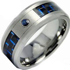 COI Titanium Ring With Carbon Fiber & Created Sapphire-2802