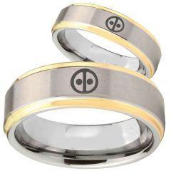 COI Titanium Gold Tone Silver DeadPool Step Edges Ring - 2833