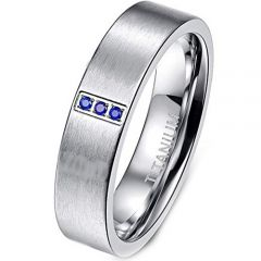 COI Titanium Pipe Cut Flat Ring With Created Sapphire-JT2848AA