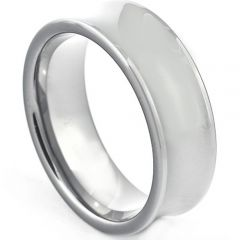COI Platinum White Titanium Concave Wedding Band Ring - JT264