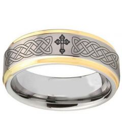 COI Titanium Gold Tone Silver Celtic Cross Step Edges Ring-2895