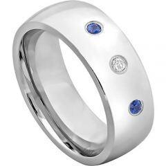 COI Titanium Genuine Diamond Created Sapphire Ring-JT2974