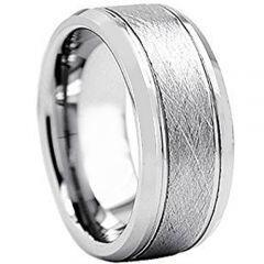 COI Titanium Sandblasted Double Grooves Ring - JT2996AA
