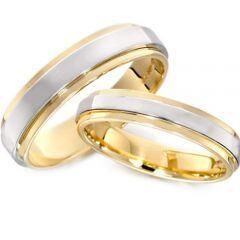 *COI Titanium Gold Tone Silver Step Edges Ring - JT1165