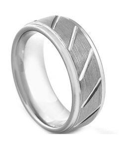 COI Titanium Diagonal Grooves Step Edges Ring - 3045