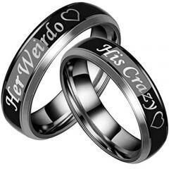 COI Titanium His Crazy Her Weirdo Beveled Edges Ring-JT3532
