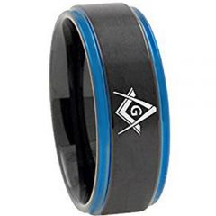 *COI Titanium Black Blue Masonic Step Edges Ring - 3092
