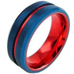 COI Titanium Blue Red Center Groove Beveled Edges Ring - 3098