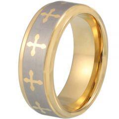 COI Titanium Gold Tone Silver Cross Step Edges Ring-3169AA
