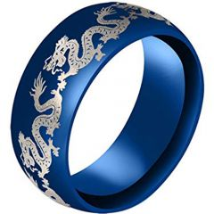 COI Blue Titanium Dragon Dome Court Ring-3183