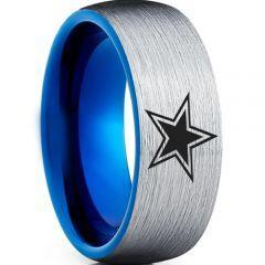 COI Titanium Blue Silver Dome Court Star Ring - 3198