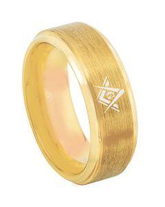 *COI Gold Tone Titanium Masonic Step Edges Ring - 3216