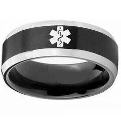 COI Titanium Black Silver Medic Alert Beveled Edges Ring - 3218
