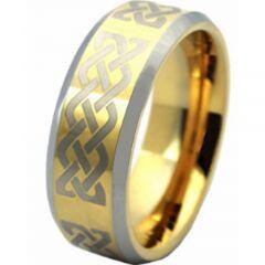 COI Titanium Gold Tone Silver Celtic Beveled Edges Ring - JT3223