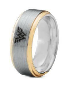 **COI Titanium Gold Tone Silver Wonder Woman Step Edges Ring-3233
