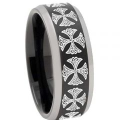 COI Titanium Black Silver Cross Beveled Edges Ring - 3250
