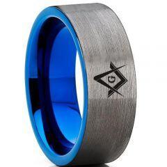 COI Titanium Blue Silver Masonic Pipe Cut Flat Ring-3286