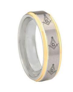 COI Titanium Gold Tone Silver Masonic Step Edges Ring - 3303