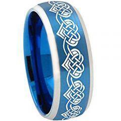 *COI Titanium Blue Silver Heart Beveled Edges Ring - 3309