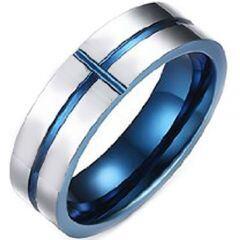 COI Titanium Blue Silver Horizontal & Vertical Groove Ring-3375