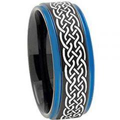 COI Titanium Black Blue Celtic Step Edges Ring - 3400