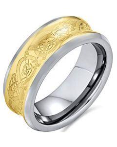 COI Titanium Gold Tone Silver Celtic Concave Ring-3402