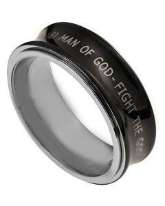 COI Titanium Concave Ring With Custom Engraving - JT3411AA