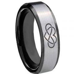 COI Titanium Black Silver Infinity Heart Beveled Edges Ring-3437