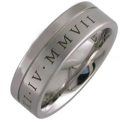 COI Titanium Offset Groove Ring With Roman Numerals - JT803