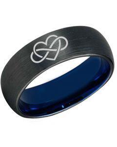 *COI Titanium Black Blue Infinity Heart Dome  Court Ring-3449
