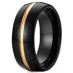 COI Titanium Black Gold Tone Center Groove Ring - JT3866