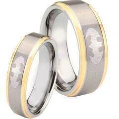 *COI Titanium Gold Tone Silver Batman Step Edges Ring - JT3475