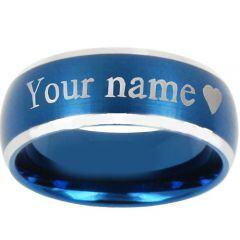 COI Titanium Beveled Edges Ring With Custom Names Engraving-JT3500