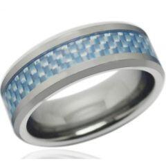 COI Titanium Beveled Edges Ring With Carbon Fiber - JT1657A