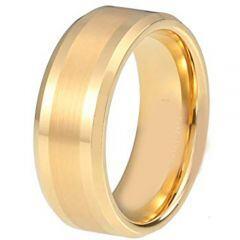 COI Gold Tone Titanium Center Line Beveled Edges Ring - JT3557AA