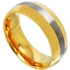 COI Titanium Gold Tone Silver Dome Court Ring - JT3583