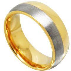 COI Titanium Gold Tone Silver Dome Court Ring - JT3584
