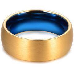 COI Titanium Blue Gold Tone Dome Court Ring - JT3613