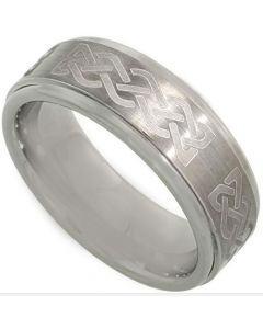 COI Titanium Celtic Beveled Edges Ring - 3621