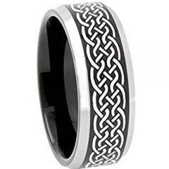 COI Titanium Black Silver Celtic Beveled Edges Ring - 3651