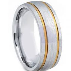 COI Titanium Gold Tone Silver Double Grooves Dome Ring-JT2786