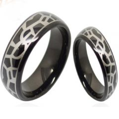 COI Black Titanium Snake Skin Pattern Dome Court Ring-3687