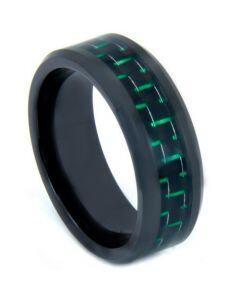 COI Black Titanium Beveled Edges Ring With Carbon Fiber - 824