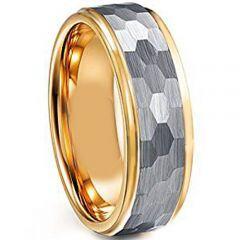 COI Titanium Gold Tone Silver Hammered Step Edges Ring-JT4001