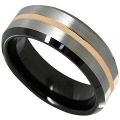 COI Titanium Black Rose Beveled Edges Ring - JT3717