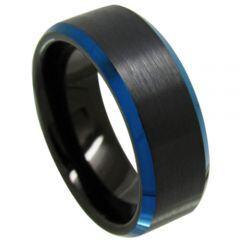 COI Titanium Black Blue Beveled Edges Ring - JT3718