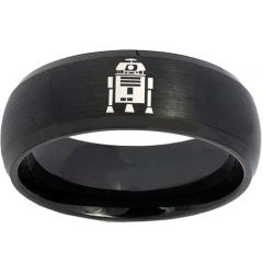 COI Black Titanium R2D2 Beveled Edges Ring - 3730