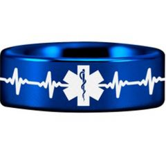 COI Titanium Blue Silver Heartbeat Medical Alert Ring-JT3769