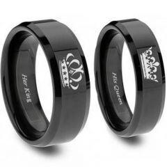 COI Black Titanium King Queen Crown Beveled Edges Ring-JT3770